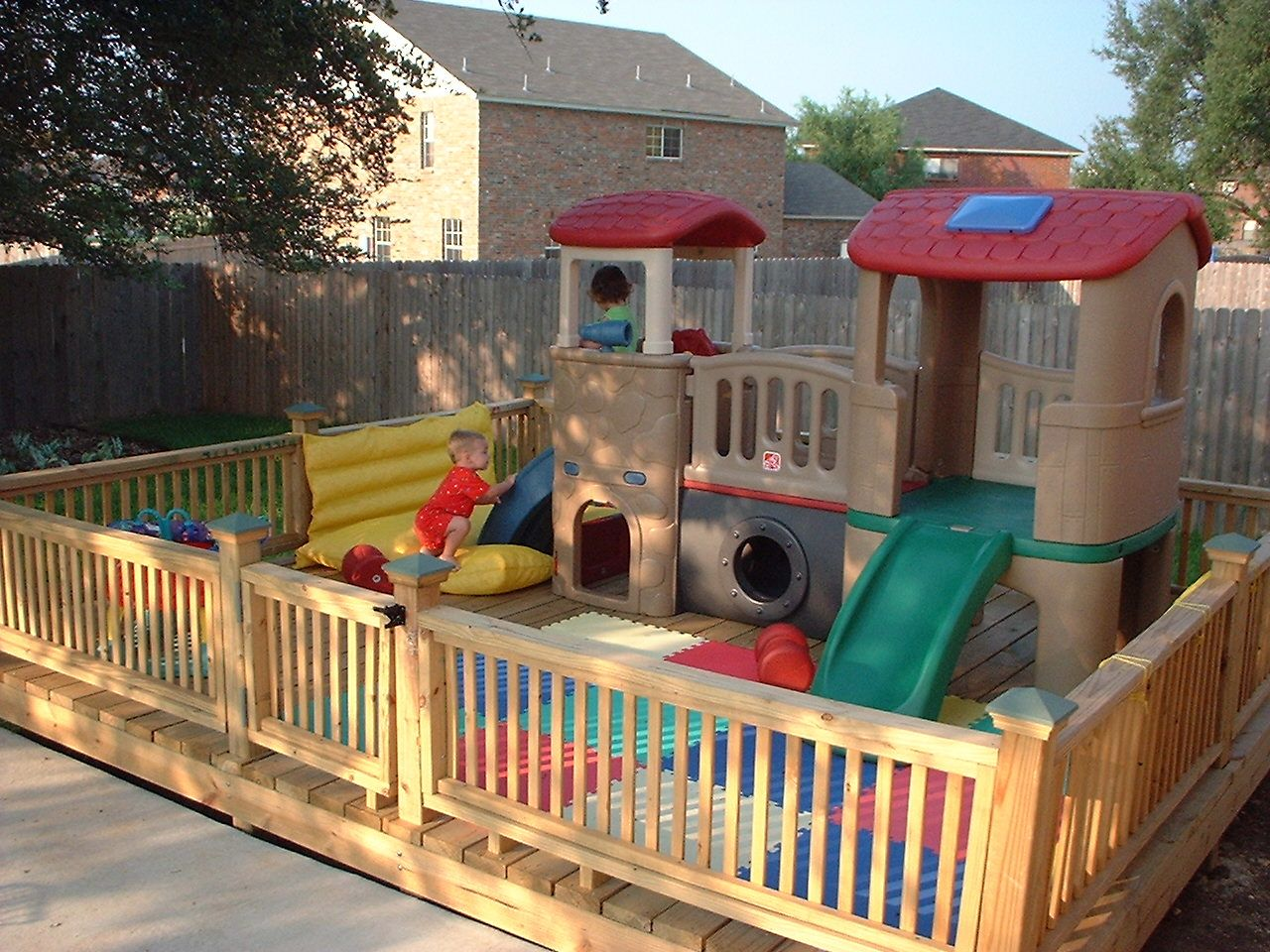 Play area built on a deck don 39 t have to worry about for Play yard plans