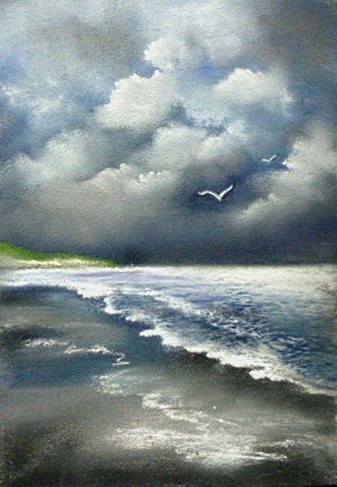 Pastell Landschaft Meer Wolken Und Meer 21x29 5 Antiquitaten