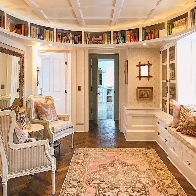So Elegant Love A Sitting Area In A Master Bedroom By: Landing With Curved Walls, Curved Bookcases, Window Seat