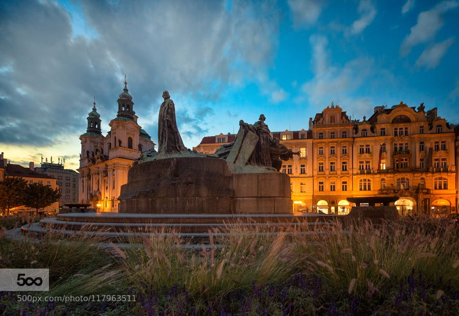 Bohemian Blue - Pinned by Mak Khalaf The Jan Hus monument in Prague's Old Town Square at blue hour. City and Architecture Czech RepublicEuropeJan HusNikon D800PragueTodd Leckiearchitecturebluecitycityscapecloudsstreetsunsettravelurban by leckie1463