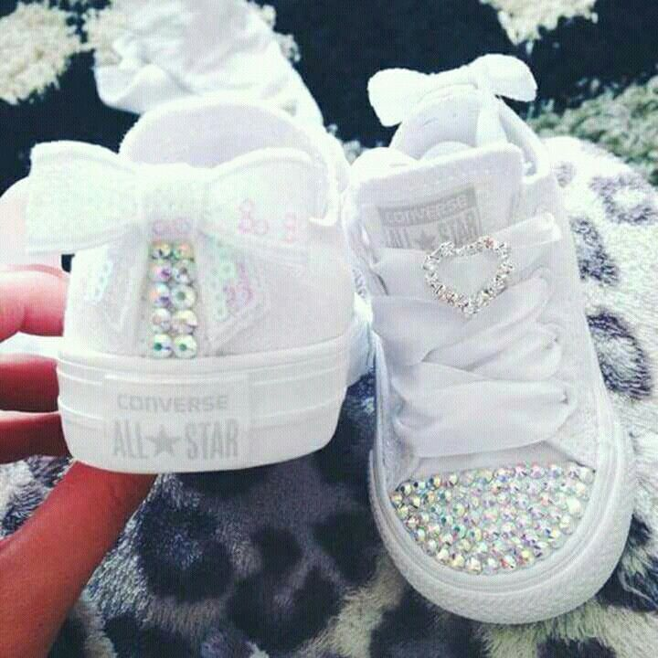 Flower girl shoes, I think they are DIY for Children but they still look  awesome, white glitter lace sneakers.