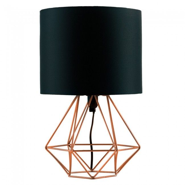 Industrial Style Angus Geometric Base Table Lamp with Black Shade - Industrial Style Angus Geometric Base Table Lamp With Black Shade