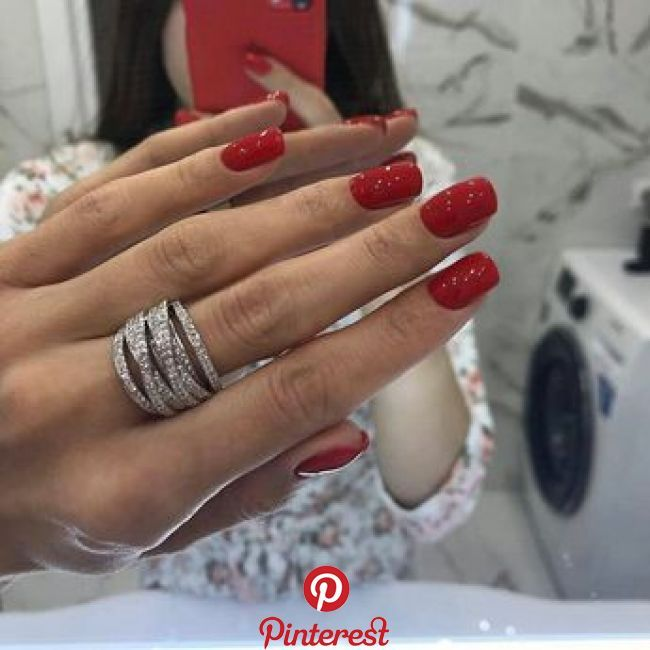 Jewelry Red Acrylic Nails Red Nails Short Red Nails