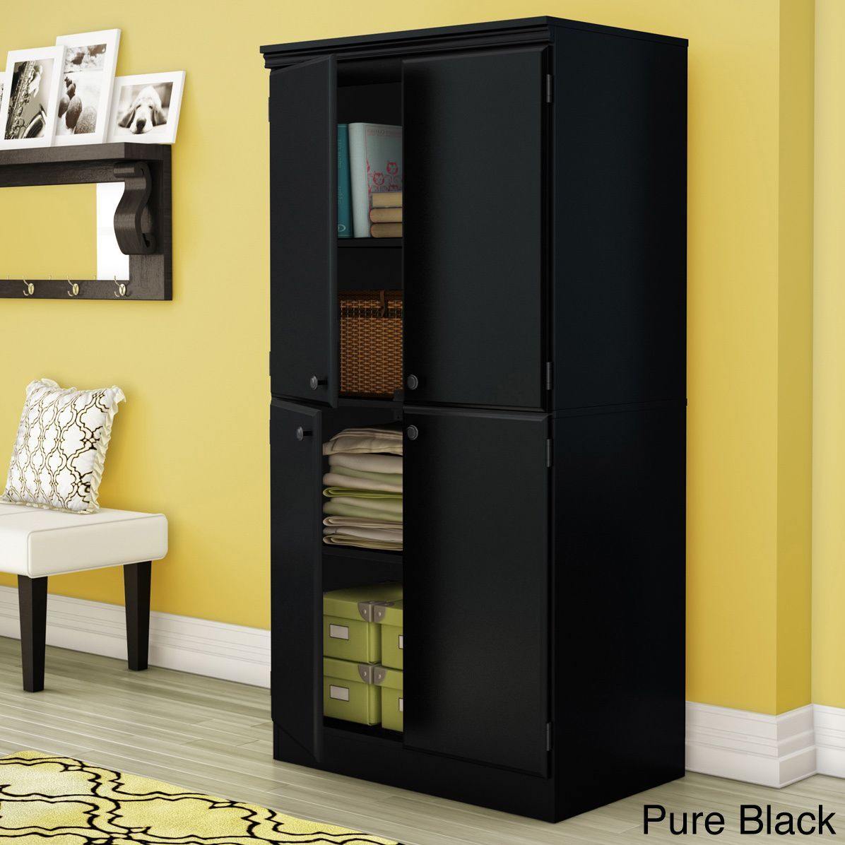 South Shore Morgan Storage Cabinet 4 Door Storage Tall Cabinet Storage Door Storage