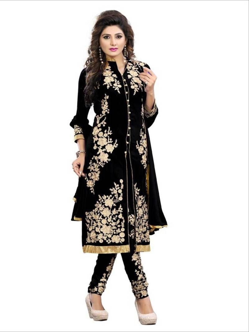 43a1af4b5 Buy black georgette embroidered semi stitched salwar with dupatta Online  India Fashion