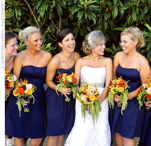 Flower Color For Navy Blue Wedding Navy Bridesmaid Dresses