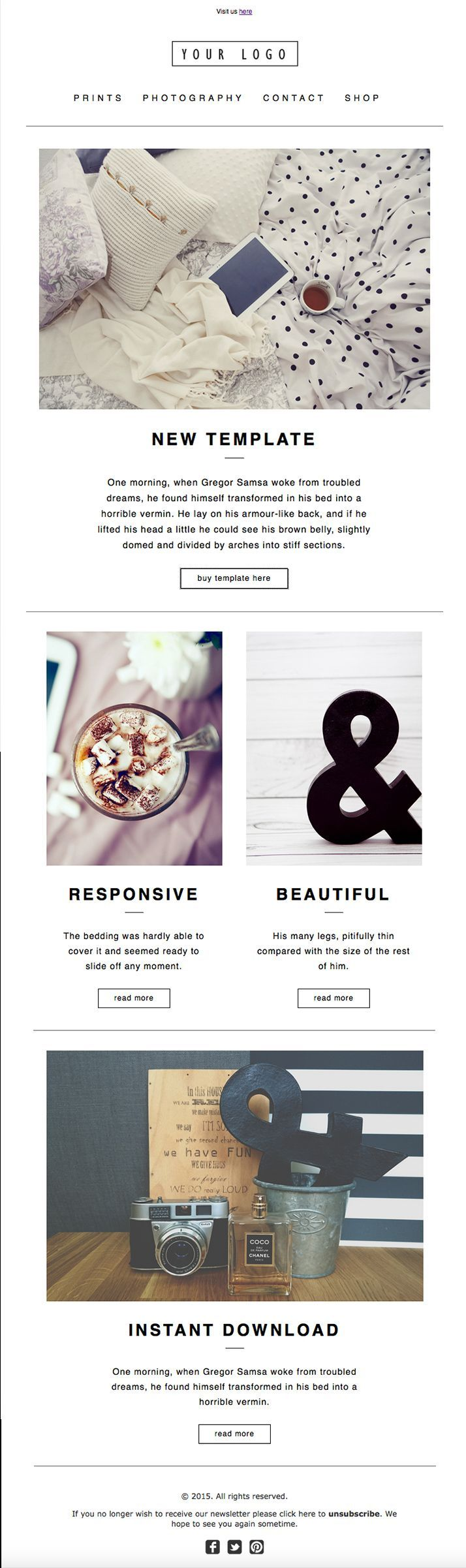Modern ENewsletter Template Design HTML Coded Mailchimp - Online newsletter templates