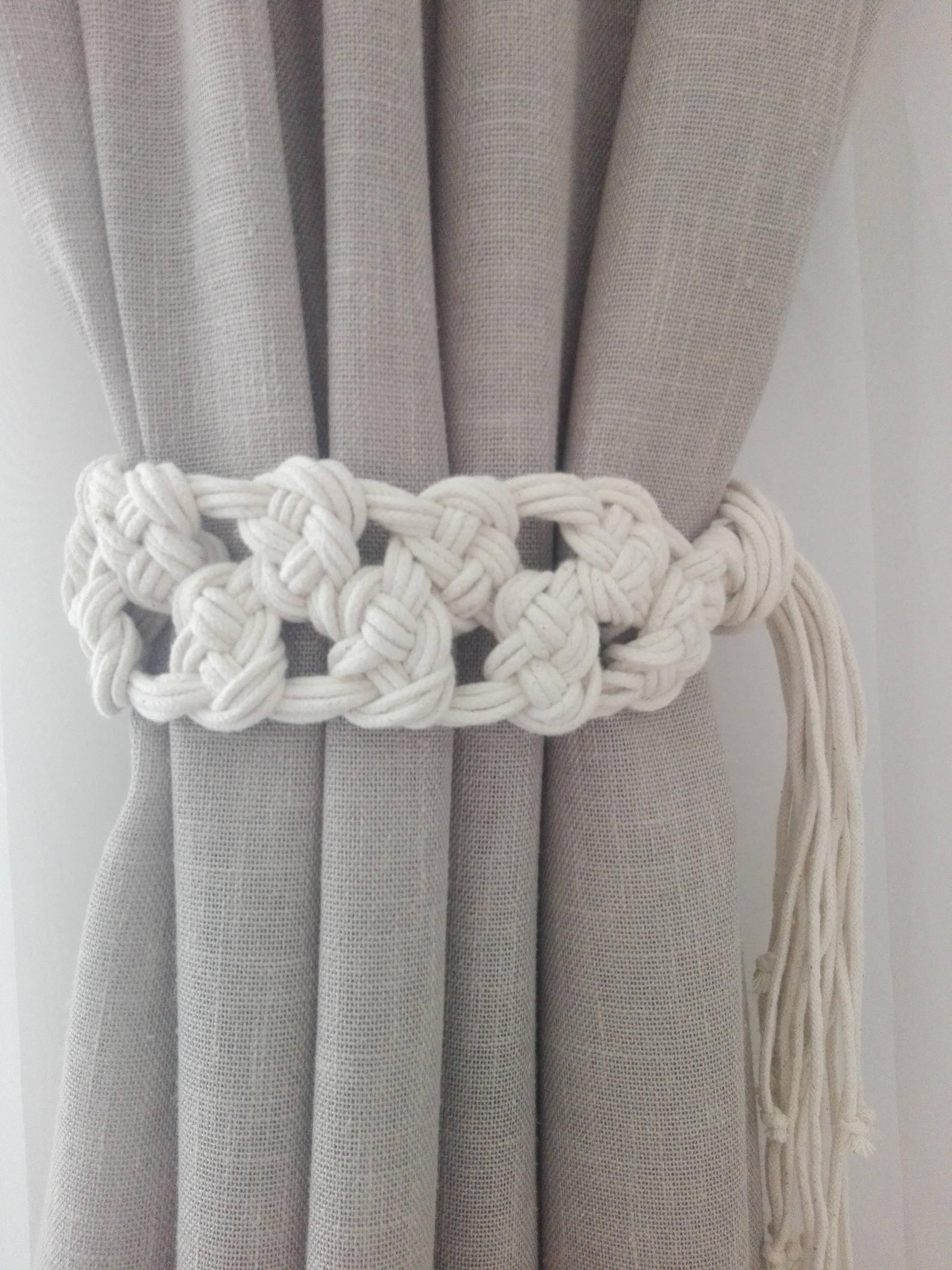 Macrame Curtain Tie Backs 2 Pcs Cotton Rope Curtain Tie Backs Nursery Curtain Tie Backs Curtain Holdbacks White