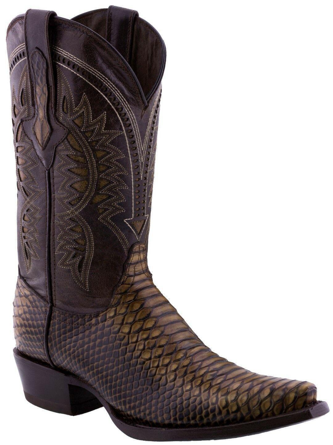 Men/'s Brown Leather Python Snake Overlay Design Cowboy Western Square Belt