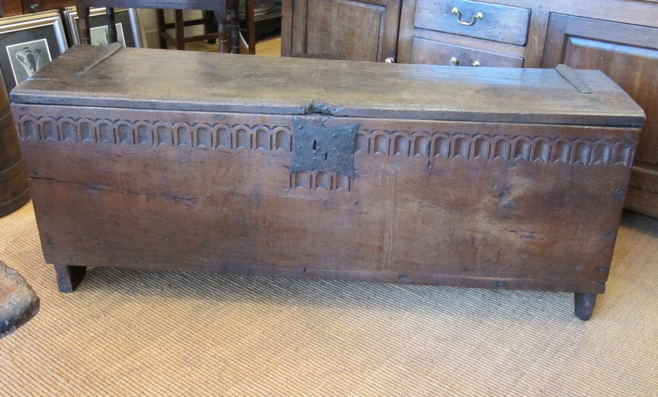 A Mid 17th Century English Oak Six Plank Coffer The Beautifully Grained Well Patinated Moulded Top Hav Vintage Boxes Wooden Antique Furniture Period Furniture