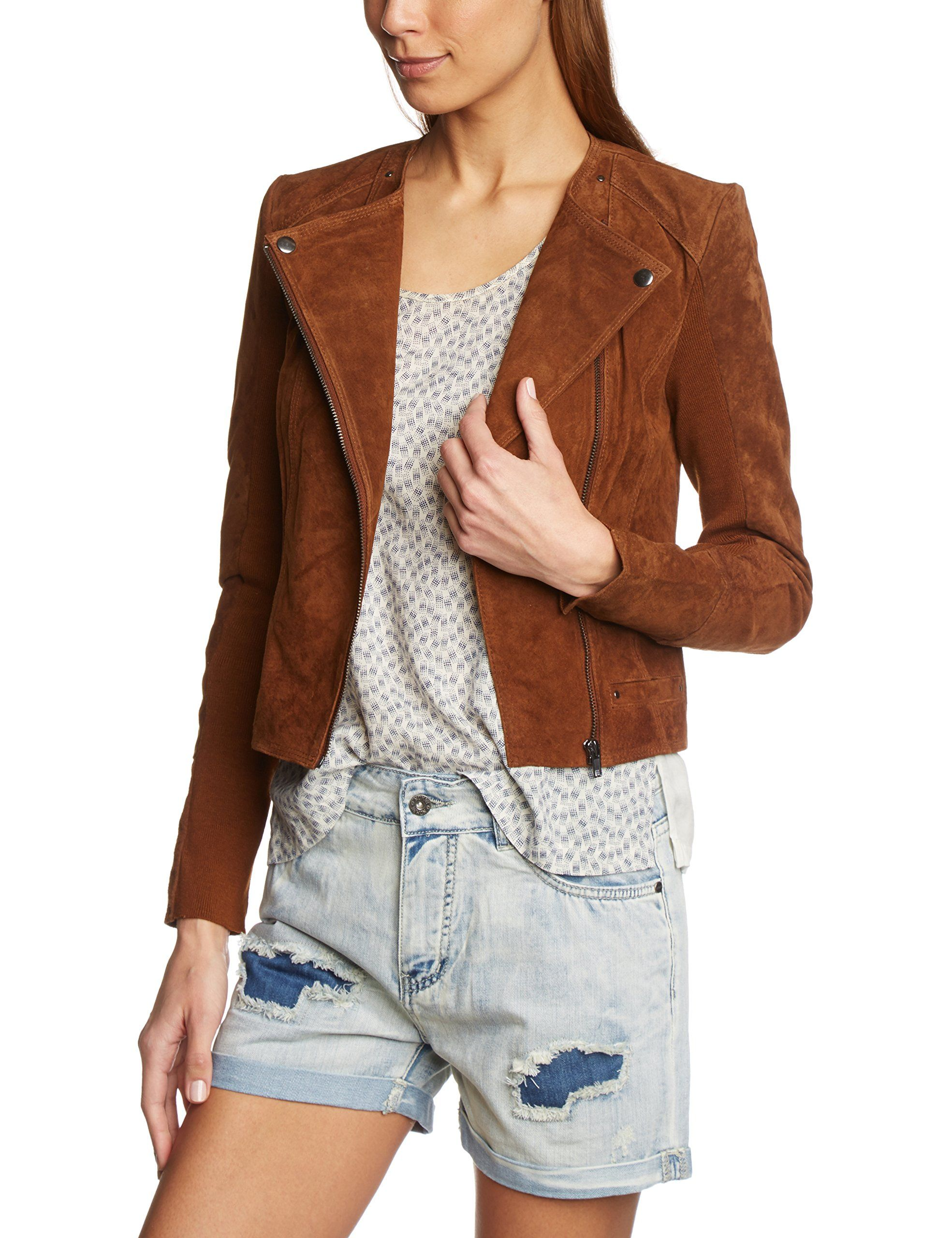 vero moda damen lederjacke vmforever short suede slim jacket gr 40 herstellergr e l braun. Black Bedroom Furniture Sets. Home Design Ideas