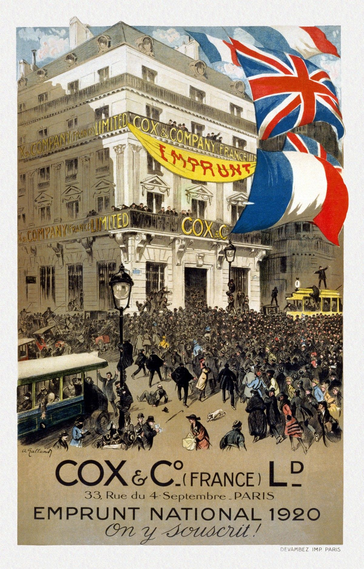 1920 EMPRUNT NATIONAL french propaganda poster 24x36 COLLECTORS unique