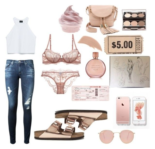 Nude by sophia-gonz on Polyvore featuring polyvore, fashion, style, Zara, AG Adriano Goldschmied, La Perla, See by Chloé, Ray-Ban, Bare Escentuals, Estée Lauder and Birkenstock