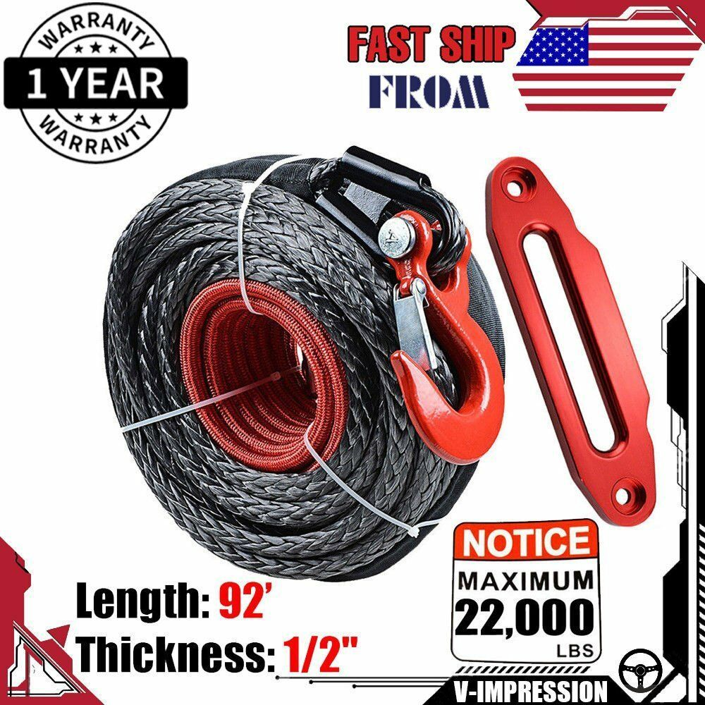 Synthetic Winch Rope 92 X 1 2 22000lbs Clevis Hook Hawse Fairlead Red Kit Synthetic Winch Rope Winch Rope Winch