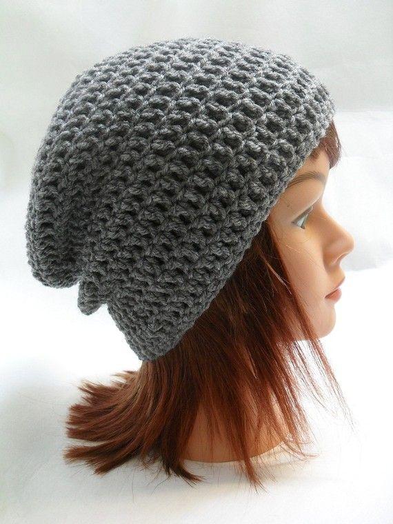 bb6ca34855a Crochet Kendall Slouch Beanie Grey Medium by AddSomeStitches
