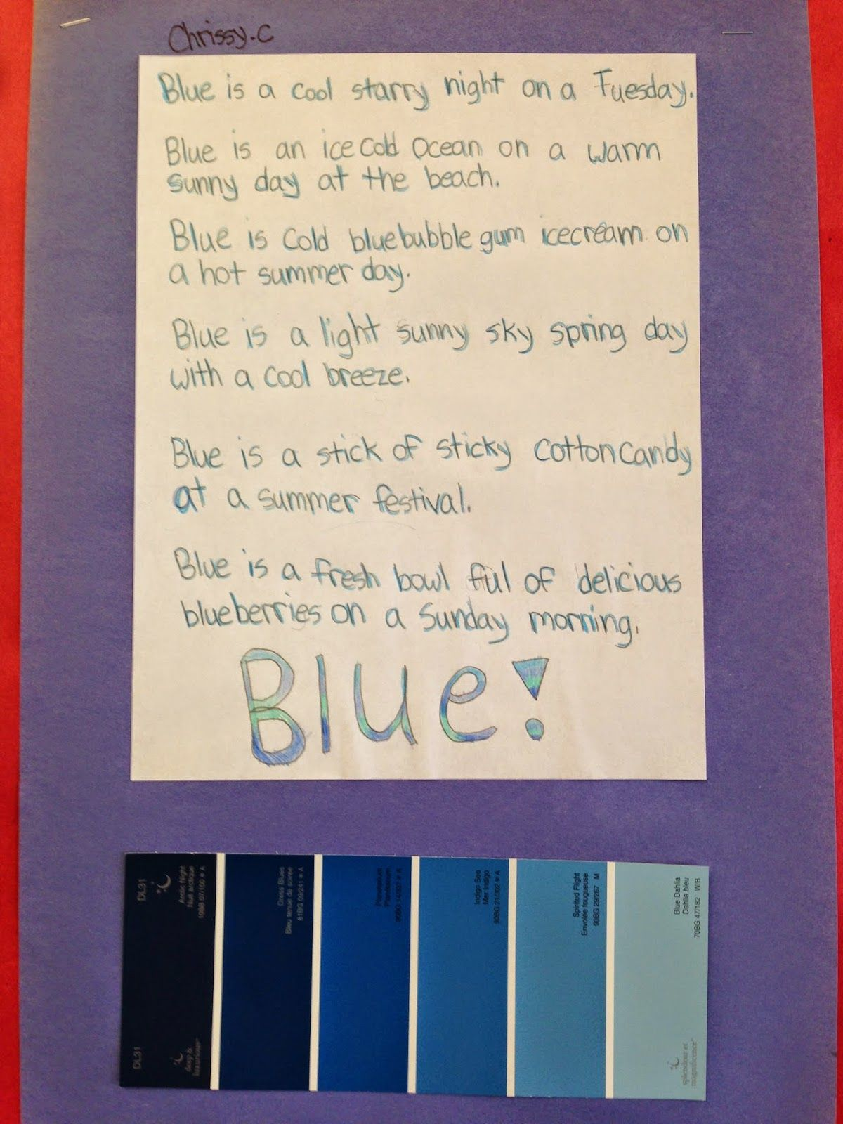 Grade 4 Paint Chip Poetry