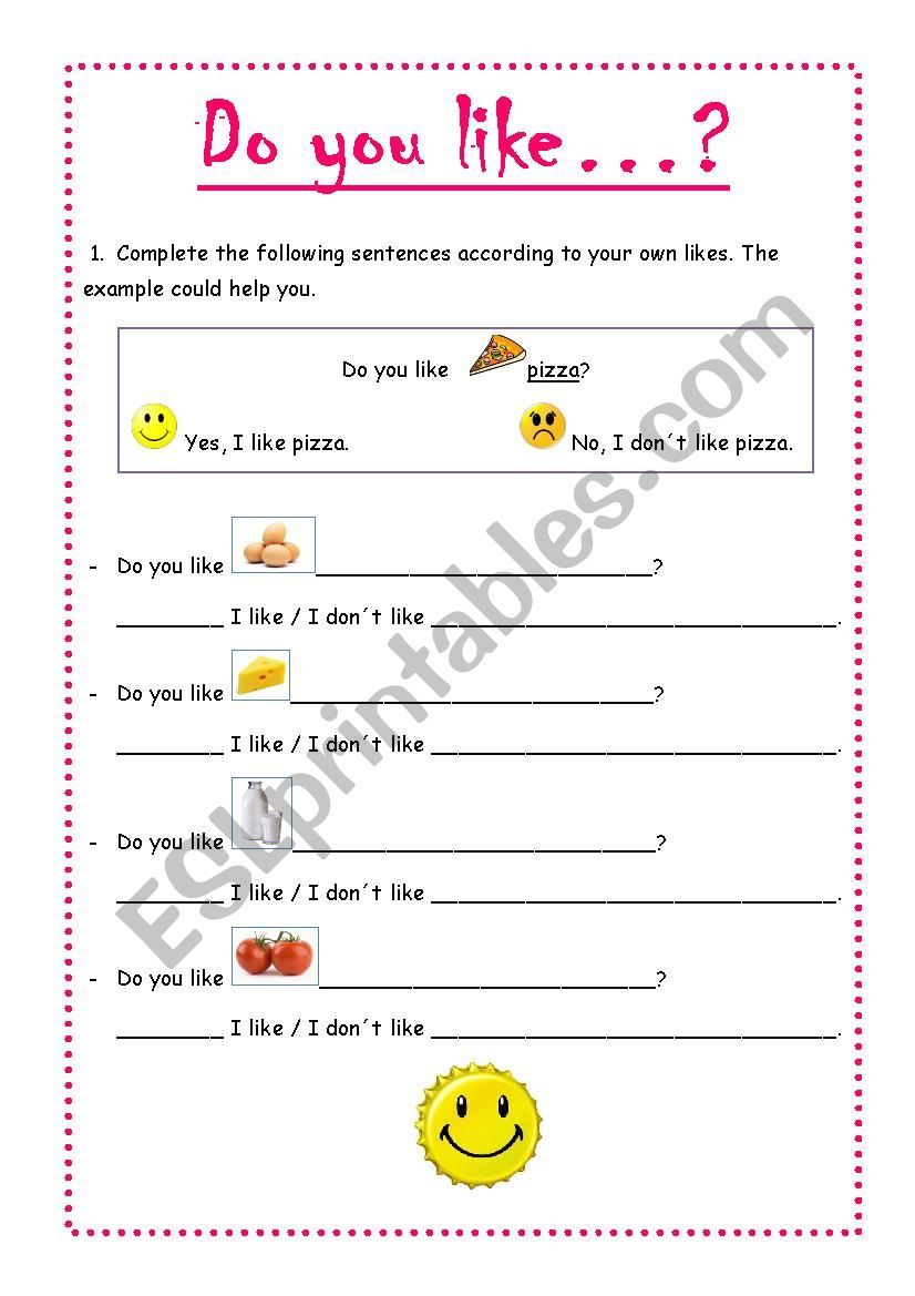 Do You Like Food Worksheet Worksheets For Kids Worksheets Do You Like Pizza [ 1169 x 826 Pixel ]