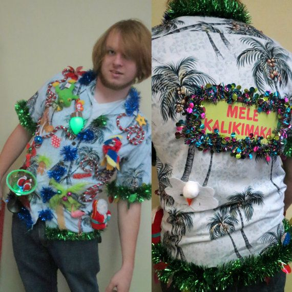75543296dee Tropical Tacky Ugly Christmas Sweater Party Hawaiian Shirt Light up ...