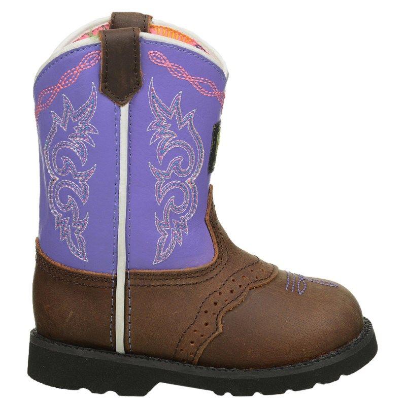 6cd3070aabc7da John Deere Kids  Pull-On Cowboy Boot Toddler Preschool Shoes (Dark Brown  Purple) - 11.5 M