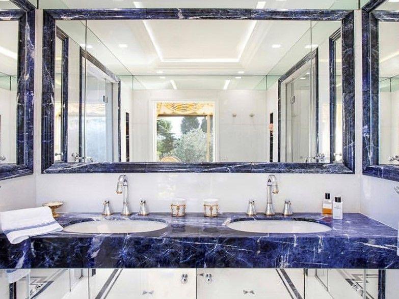 Sodalite Vanity top Bathroom ° ° ° #beautyhunter #sodalite #sodaliteblue #sodalitebluepremium #precioustone #metstrade #luxuryyacht #luxuryliving #architecture #architecture #designers #marble #onyx #naturalstone #pietra #london #emotions #lovecolor #loveart #luxuryfurniture #fashionbloggers #miami #paris #roma #losangeles #luxuryproperty #luxuryproperties #interior #interiordesign #designer #bathroom #bathroomdesign #marbledesign #marblevanity #vanitytop #bathroomideas #bluestone #bluemarble