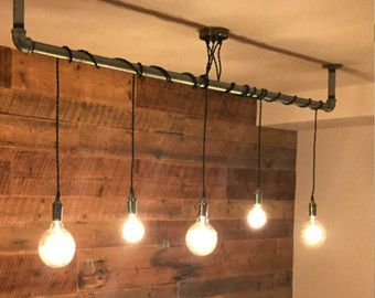 5 Pendelleuchte - wickeln Sie einen Stock oder Rohr-rustikale Kronleuchter Pendelleuchte - jede kundenspezifische Längen und Farben - Holz Speisesaal Kronleuchter #pendantlighting