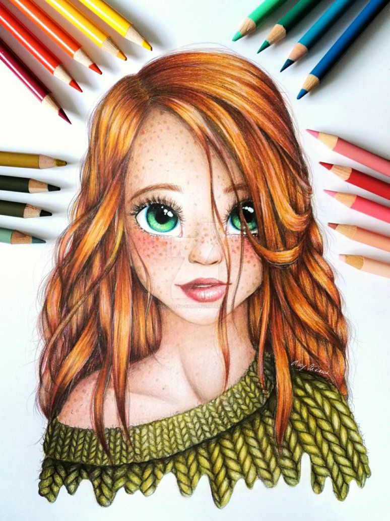 Green Eye Girl By Doodlelucyart Girly Drawings Prismacolor Art Girl Drawing Sketches