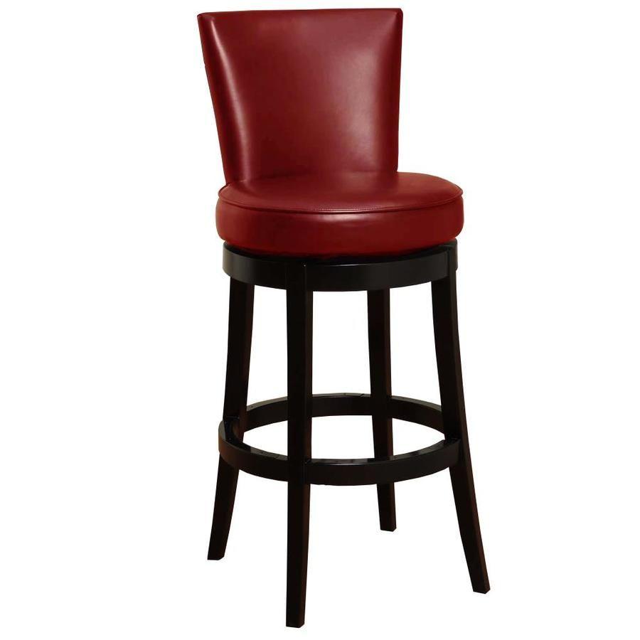 Armen Living Boston Red Counter Height Upholstered Swivel Bar Stool Lowes Com Leather Swivel Bar Stools Swivel Bar Stools Bar Stools