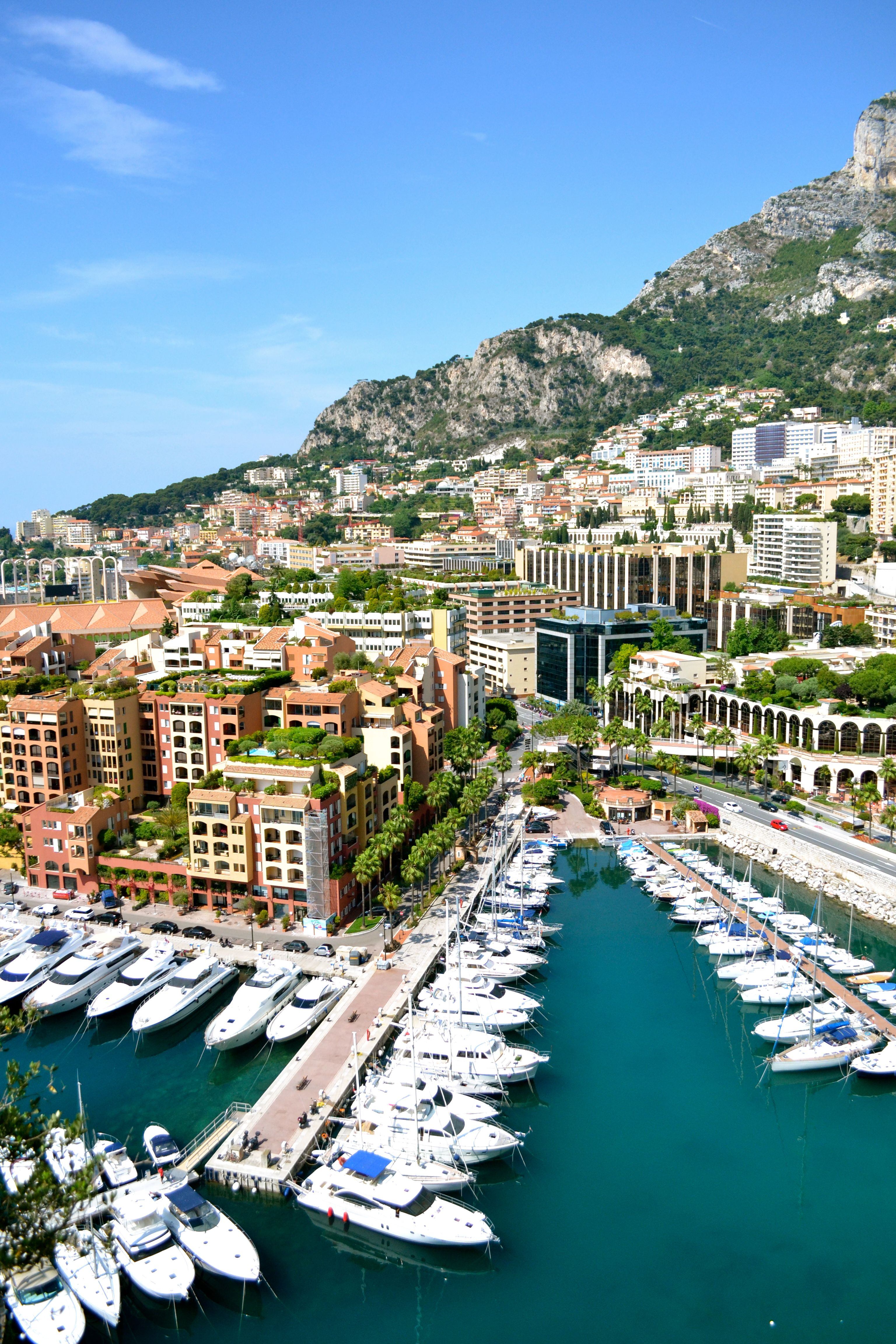 Monaco, a sovereign city - state in the French Riviera. Western Europe bordered on 3 sides by France with one side bordered by the Mediterranean Sea.