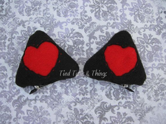 Valentine heart cat ear hair clips by TiedTutusAndThings on Etsy black and red