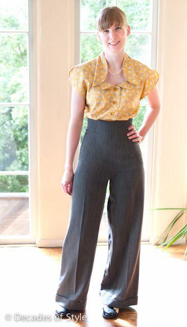 #4004 1940s Empire Waist Trousers | vintage retro look ...