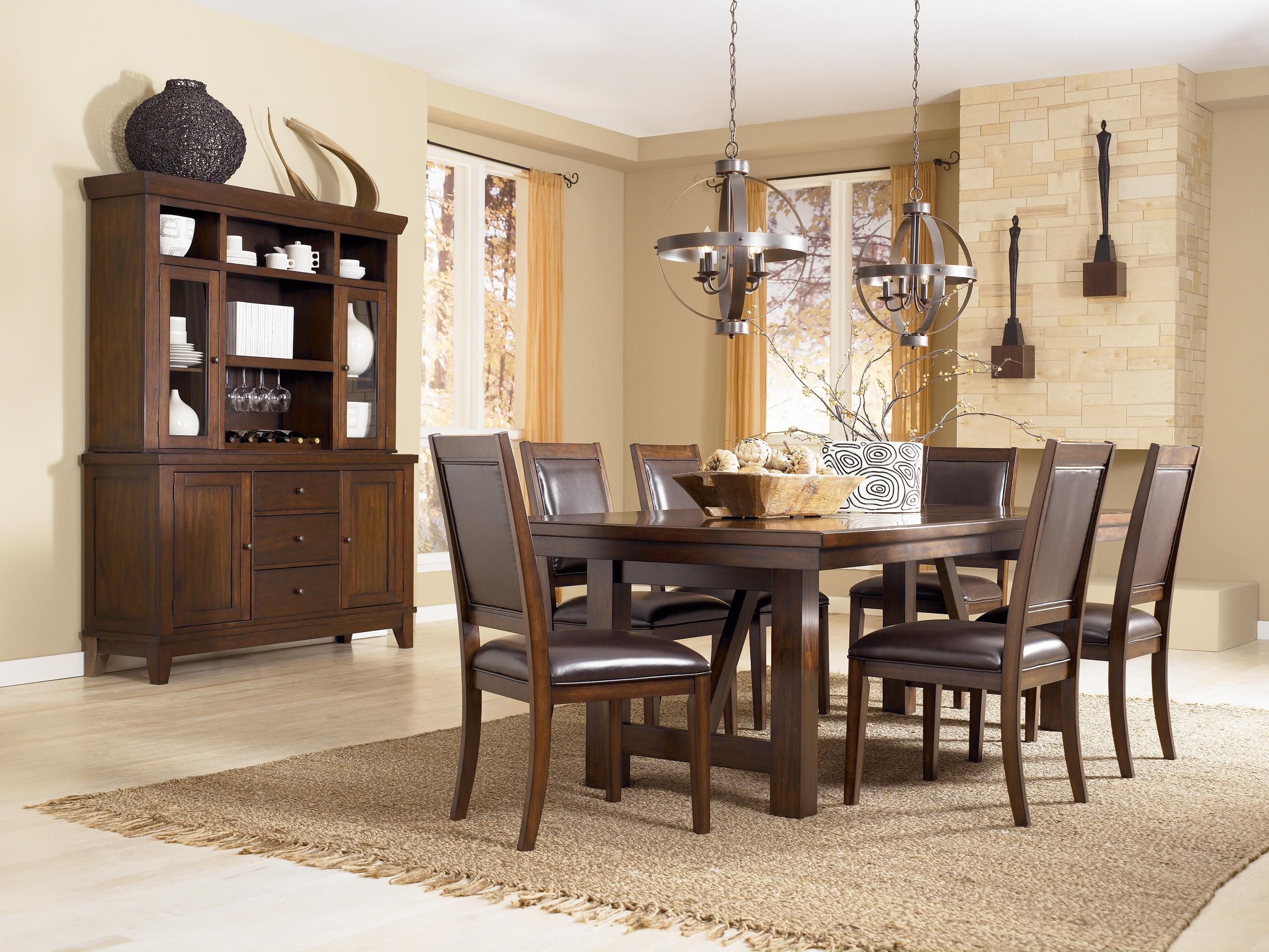 The Birnalla Dining Room Extension Butterfly Table From Ashley Furniture HomeStore AFHS With Block Legs Featuring A Cut Through Design T