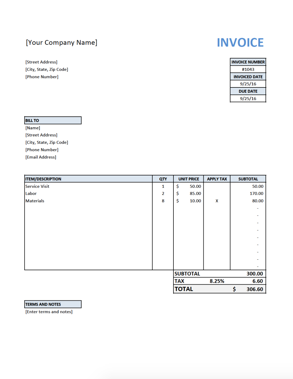 Free Invoice Template For Contractors Electrician
