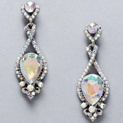 Eve752 Silver And Iridescent Earrings