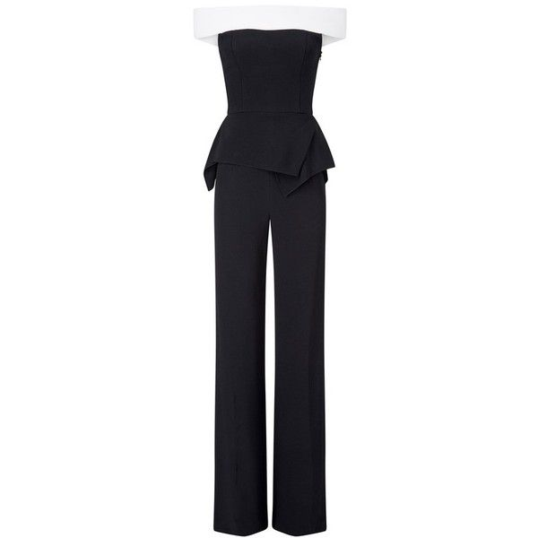 Roland Mouret Danielson Jumpsuit ($2,745) ❤ liked on Polyvore featuring jumpsuits, off the shoulder jumpsuit, white peplum jumpsuit, fitted tops, white off the shoulder jumpsuit and white two piece