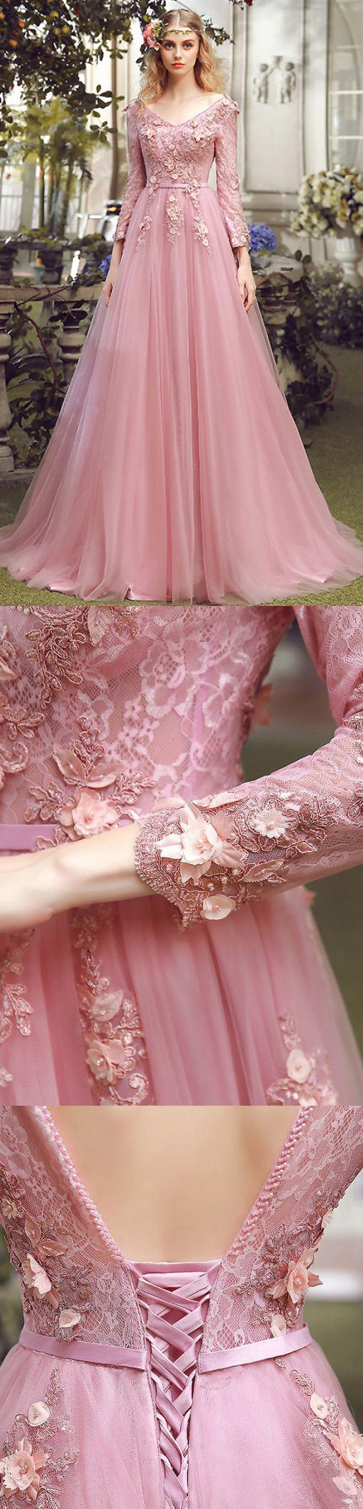 Long alineprincess evening dresses pink long sleeve with lace
