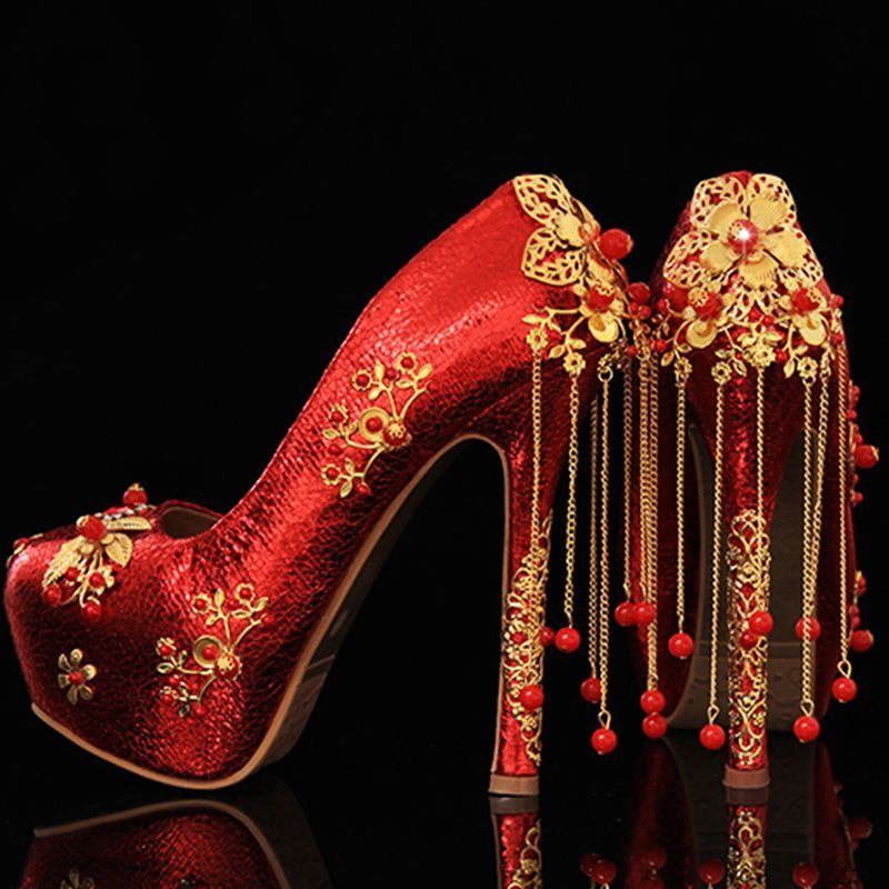 Shoespie Chinese Traditional Wedding Shoes Weddingshoes Guốc