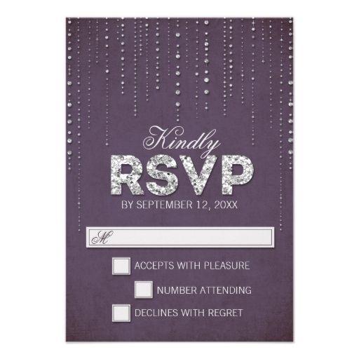Glitter Look Wedding RSVP Cards