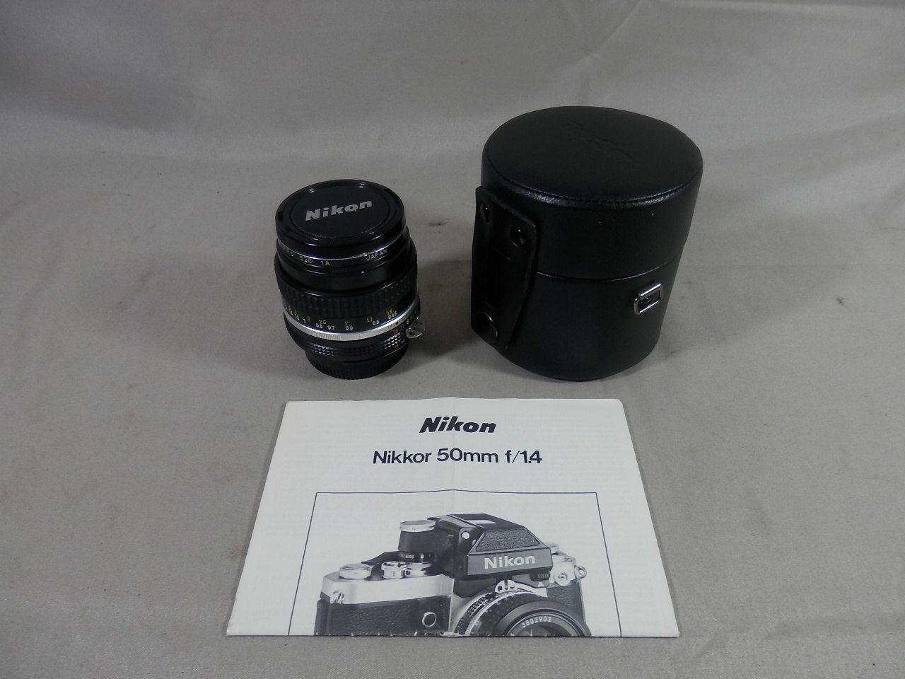 Vintage Nikon Nikkor 50mm F 1 4 Ai S 1 1 4 Camera Lens Manual Focus Front Rear Caps With Telesor Lens Case Nikon Camera Lens Manual Focus
