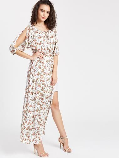 67f17e4f Ditsy Print Lace Up Slit Sleeve Slit Side Dress | Fashion at ...
