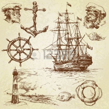 nautical elements hand drawn collection  Stock Vector