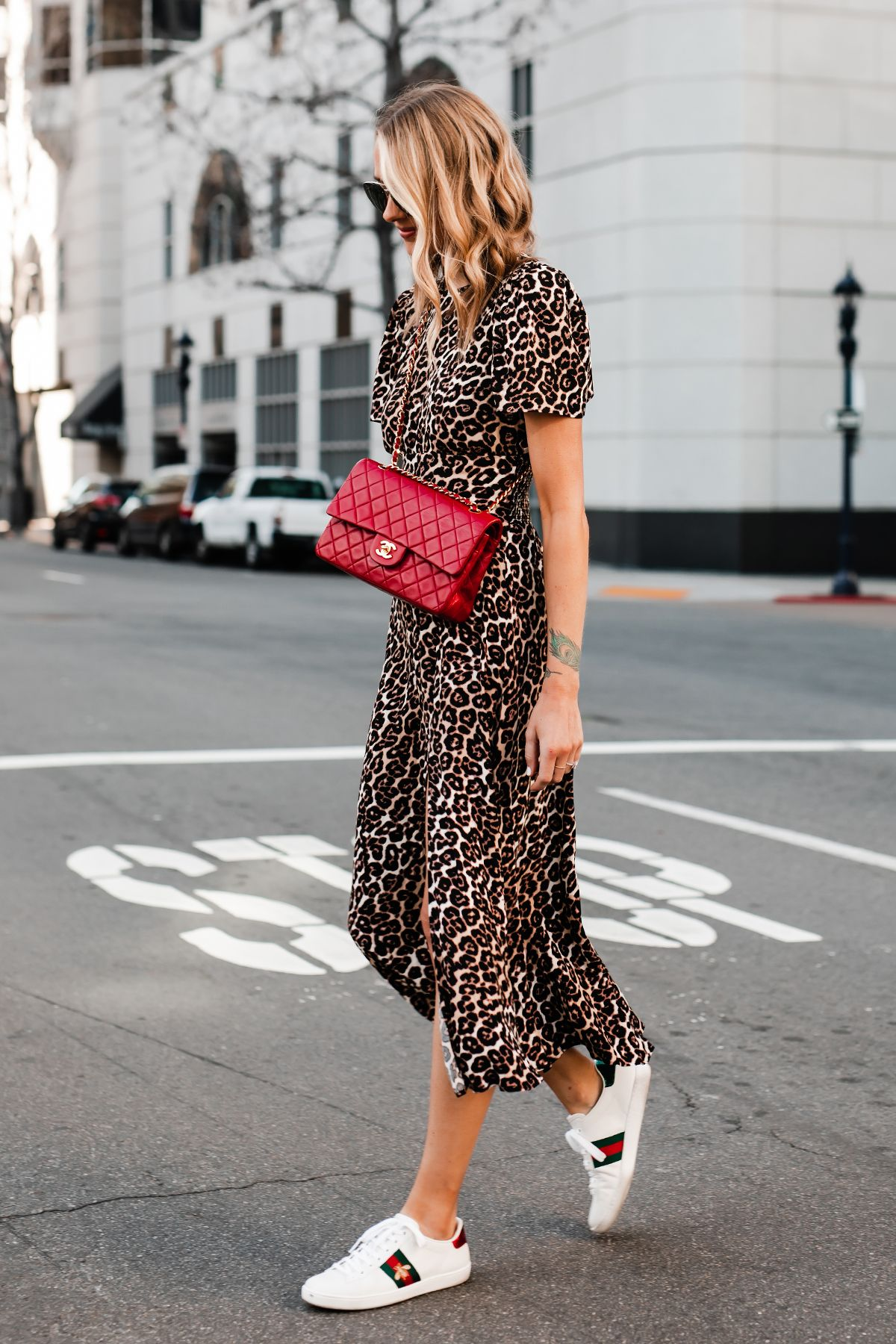 Fashion Jackson Wearing Leopard Maxi Dress Red Chanel Handbag Gucci Ace Embroidered Sneakers #maxidress