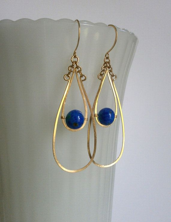 Long Gold Wire Earring Gold Double Teardrop Hoop Dangle Hammered