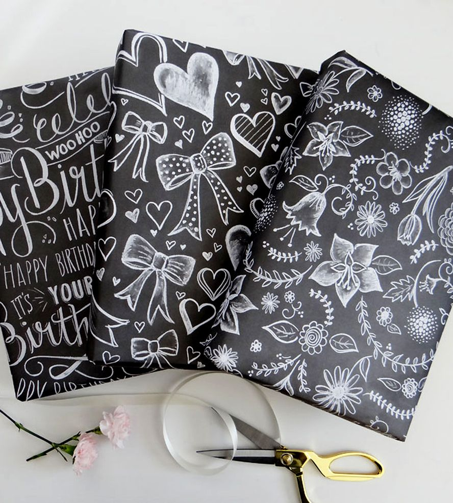 Assorted Chalkboard Art Wrapping Paper Sheets | Gift Wrapping