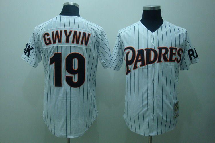 16866b1d1 Tony Gwynn Jersey White Pinstripe #19 San Diego Padres Jersey ...