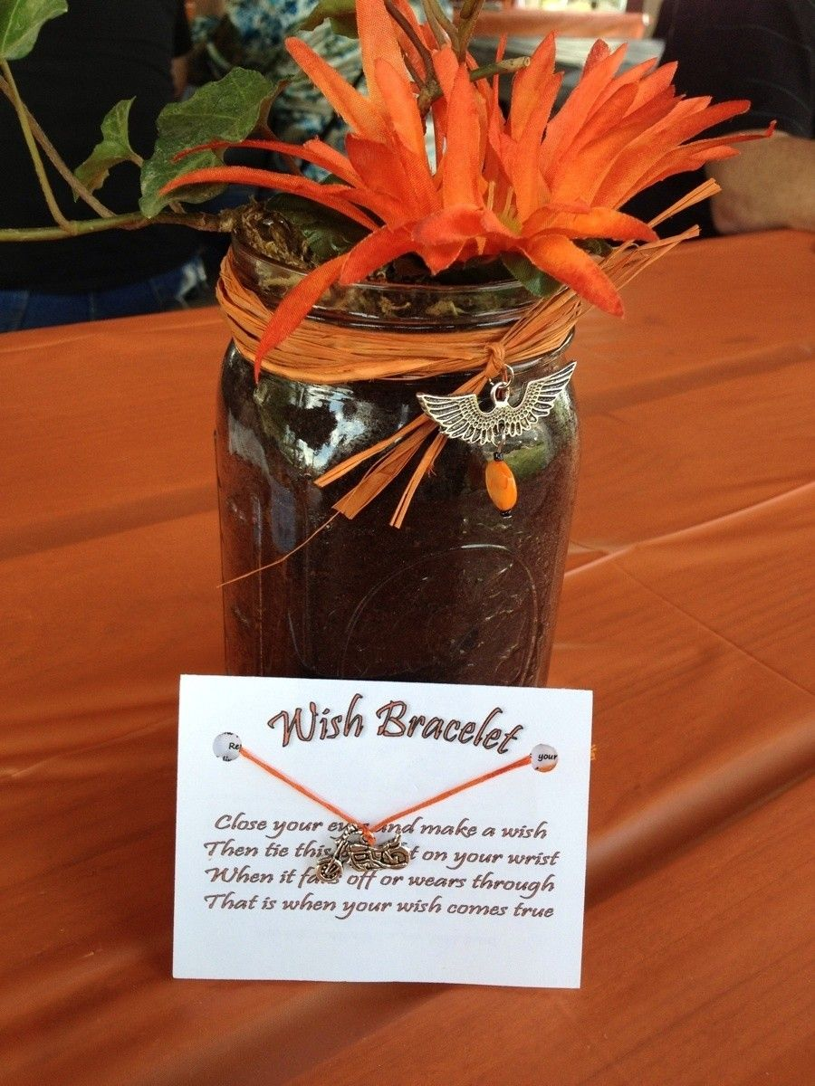Harley Themed Wedding Centerpiece And Wish Bracelet Our Harley Davidson Orange Wedding