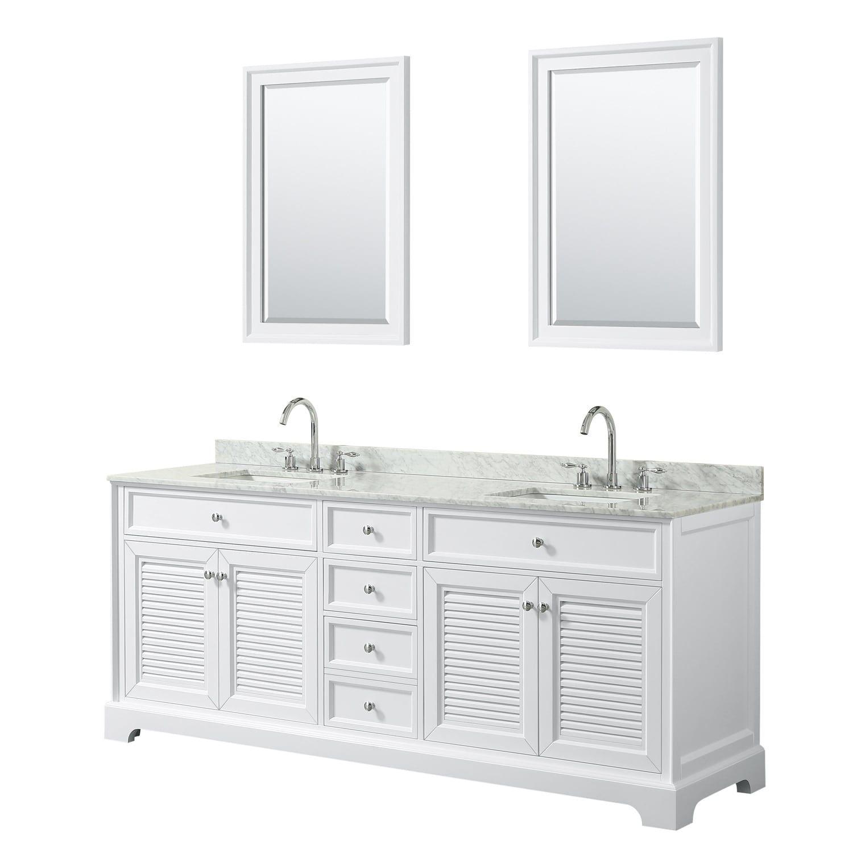 Tamara 80 Inch White Double Vanity Square Sinks 24 Inch Mirrors