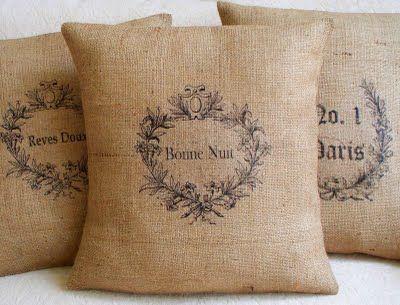 Cosas de palmichula decorar con tela de saco arpillera lino r stico hogar arpillera - Saco arpillera ...