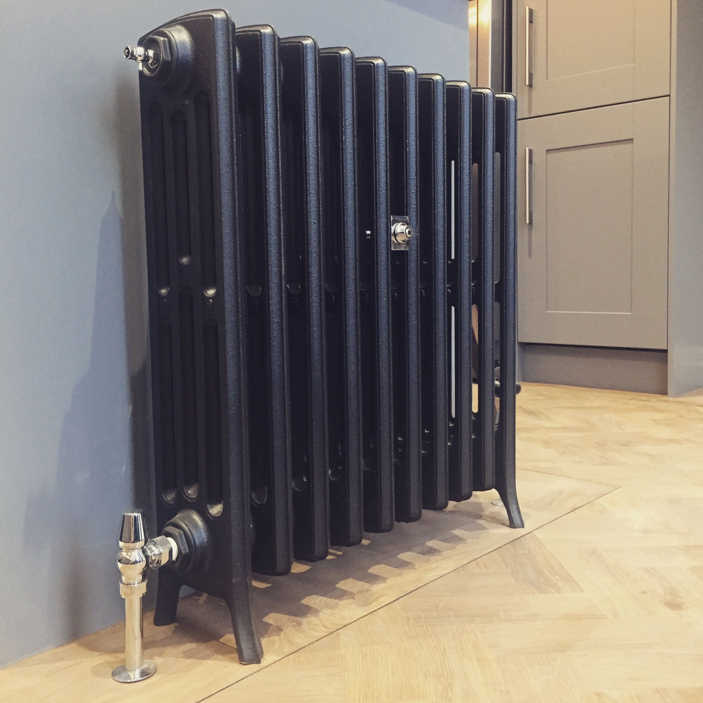 Graphite Grey Cast Iron Radiator On Kitchen Island