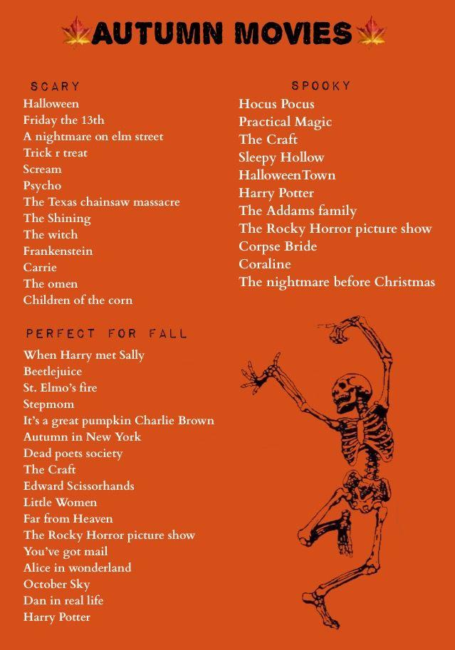 Autumn Movie List In 2020 The Fall Movie Halloween Movie Night Halloween Movies To Watch
