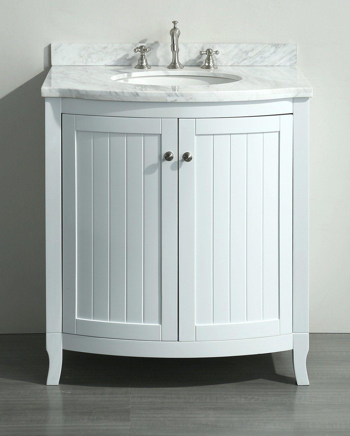 White 30 Inch Bathroom Vanity White Carrera Marble Top Single